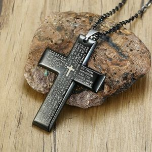 Other - Men's Cross English Lord's Prayer Pendant Necklace